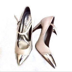Tahari Pointed Mary Jane Silver Cap Toe Heels